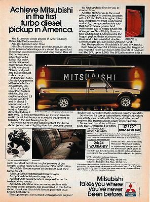Original 1983 Mitsubishi Turbo Diesel Pickup Magazine Ad
