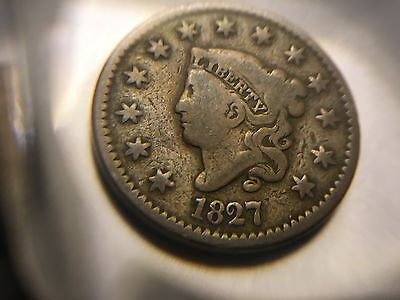 1827 Matron Liberty Head Large cent in Fine condition - Nice