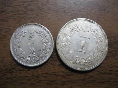 Lot of 2 Large Old Silver Coins From Japan  NR