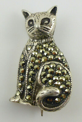 Marcasite Sitting Kitty Cat Gato Chat Katze Sterling Silver Pin