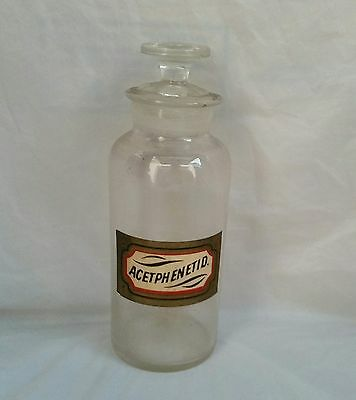 Antique Apothecary Bottle Jar Original Label And Glass Stopper Acetphient 1800 S