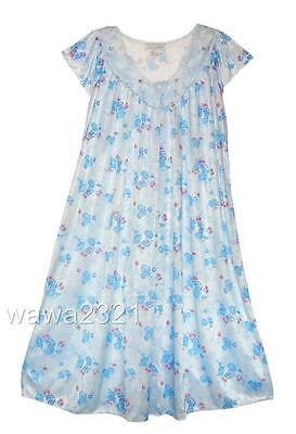 Blue SILKY FLORAL LACE SHORT SLEEVE WOMENS NIGHTGOWN SLEEPWEAR #9029- Sz M