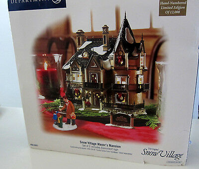NEW DEPT 56 SNOW VILLAGE MAYOR'S MANSION BUILDING never opened