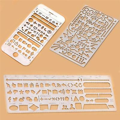 Stainless Steel Stencils Hollow Ruler Planner Travel Diary Notebook Template S