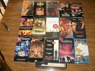 Lot of 17 VHS Movies Braveheart 2 tape set,Star Wars,Starship Troopers,The Crow