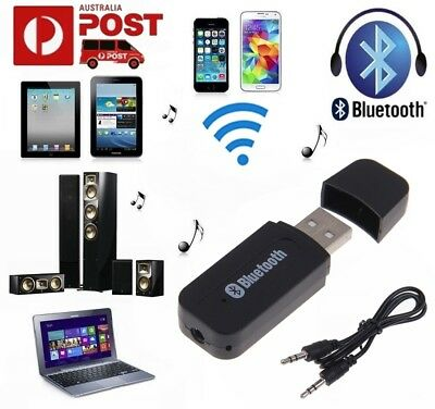 Wireless Bluetooth 3.5mm AUX Audio Stereo Music Home Car Receiver Adapter Mic L
