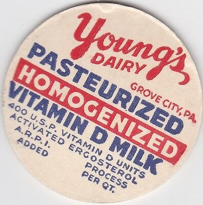 Milk Bottle Cap. Young's Dairy. Grove City, Pa.