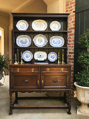 Antique English Oak Welsh Dresser Sideboard Hutch BARLEY TWIST Jacobean Buffet