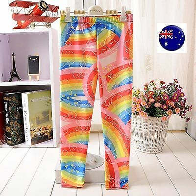 Kid Girl Child Rainbow Print Multi-color colorful Party Pants leggings 5-12YRS