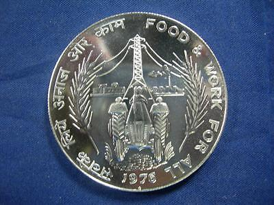 INDIA REPUBLIC - 1976 silver 50 Rupees CROWN - FAO - prooflike BU
