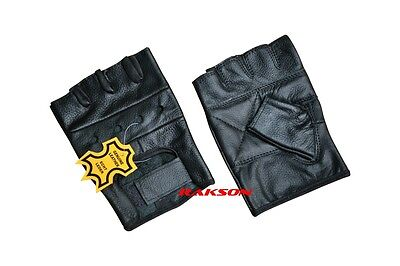 XL Size Men's Leather Fingerless Gloves Motorcycle Gloves Foam Padded Palm Black