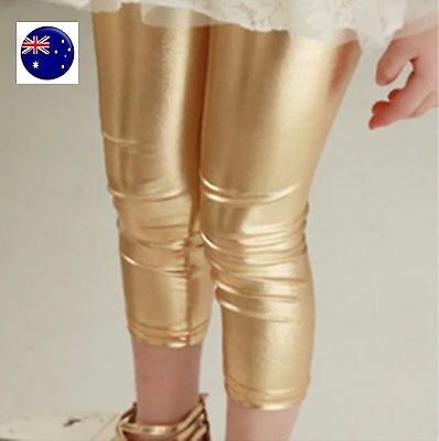 Kid Girl Synthetic leather Metallic Gold Silver Christmas Party Pants leggings