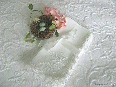 ROMANTIC Antique WHITE LINEN Embroidery & FILET LACE Dinner Napkins * Set of 6