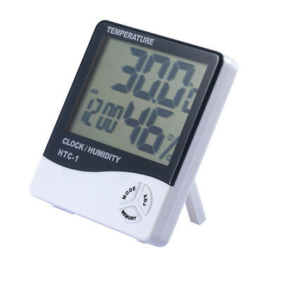Digital LCD Thermometer Hygrometer Temperature Humidity Meter Clock Room White