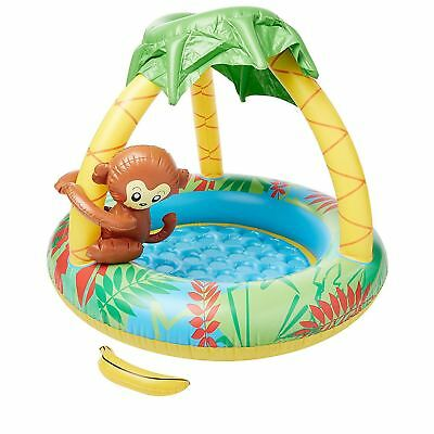 Baby Toddler Inflatable Monkey Swimming Paddling Pool Soft Floor Canopy Sunshade