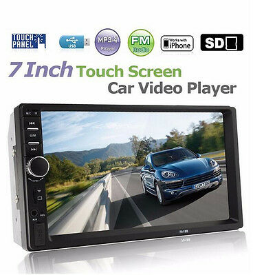 "Car MP5 MP3 Player 7"" Double 2DIN HD Bluetooth Touch Screen Stereo Radio Camera"