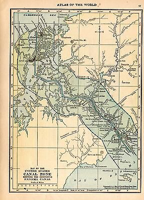 Antique Atlas Map 1914 of US Canal Zone Showing the Completed Panama Canal