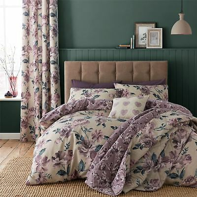 Painted Floral Duvet Quilt Cover Set, Bed Linen Double King Size Bedding, Purple
