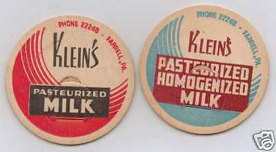 Two Different Milk Bottle Caps. Klein's Dairy. Farrell, Pa.