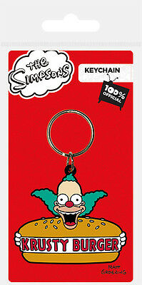 Official The Simpsons Keyrings - Rubber Keychain - Moes Krusty Burger Millhouse