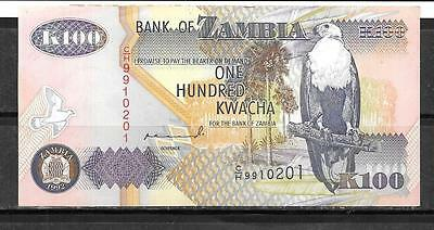 ZAMBIA #38a 1992 UNCIRCULATED 100 KWACHA BANKNOTE PAPER MONEY CURRENCY BILL NOTE