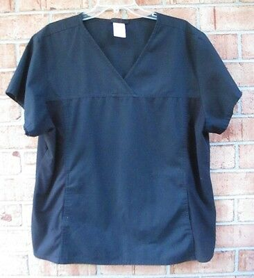 Women's Size 2XL Cherokee Flexible Solid Scrub Top - Black