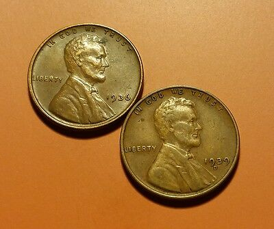 1936 P 1939 D Lincoln Wheat Penny 2 Coin Set #w5661
