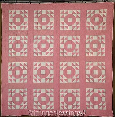 "Pretty in Pink! Vintage 30s Goose in the Pond QUILT 73"" x 73"" (ng)"