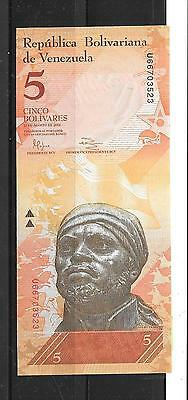 VENEZUELA #89e 2014 UNC MINT 5 BOLIVARES BANKNOTE PAPER MONEY BILL NOTE