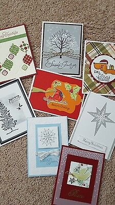 Lot of 8  Stampin' Up! Handmade Christmas Cards w/envelopes