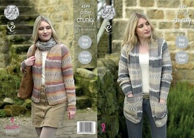 King Cole Ladies Cardigans Drifter Knitting Pattern 4599  Chunky (KCP-4599)