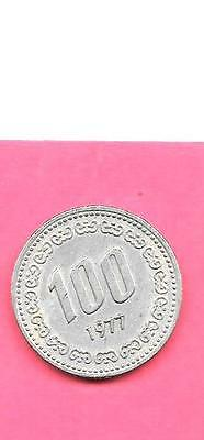 South Korea Korean Km9 1977 Vf-Very Fine-Nice Large Old 100 Won Coin