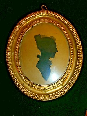 Antique -19th. Century - Oval Framed Lady Silhouette Portrait - Name on Back
