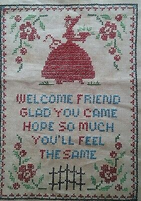 Vintage Vogart Hand Embroidered Linen Sampler ~ Welcome Friend ~ Southern Belle