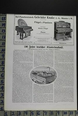 1907 Music German Grand Piano Instrument Gebruder Knake Vintage Ad Dz079