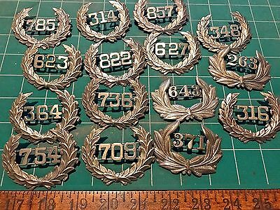 15 obsolete numbered Police Laurel Wreath Insignia Hat Baltimore+  RD
