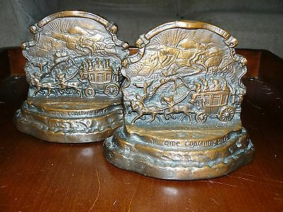 'Old Coaching Days' antique bookends. 1947. . Armor Bronze Co.
