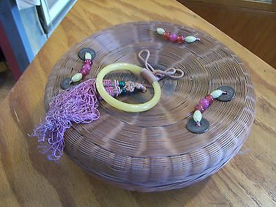 "VINTAGE Glass Bead Bakelite Ring Oriental Asian Sewing 10.5"" Wicker Basket"