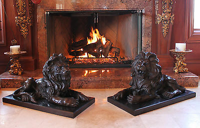 New York Library Famous Massive Pair Male Roaring Lions Leo Bronze Marble Statue