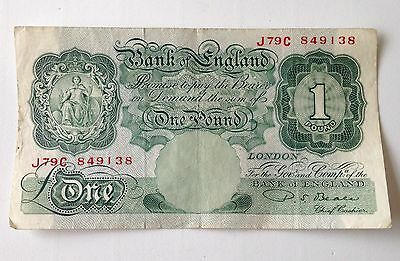 Old Bank Of England One Pound Paper Bank Note - P.s.beale 1949 - 1955
