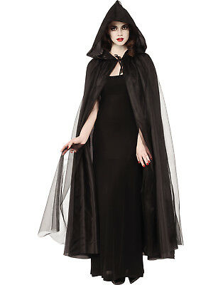 Black Full Length Adult Gothic Witch Vampire Costume Cape With Hood