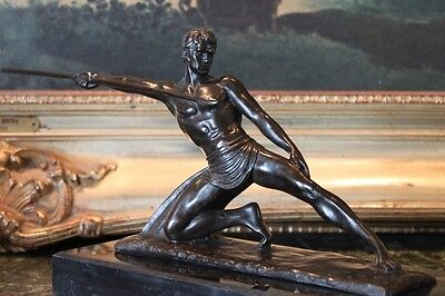 Erotic Male Soldier Warrior Spear Art Military Collector Bronze Marble Statue