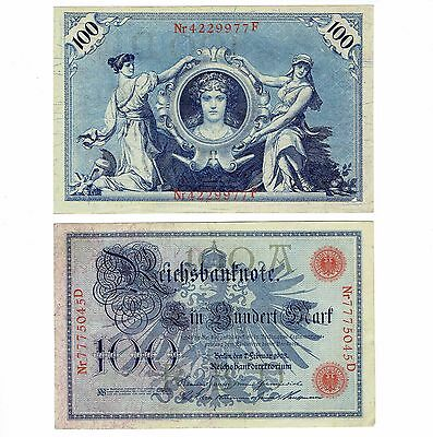 Lot of Two 1908 Germany Reichsbanknote Bank Notes 100 Marks Beautiful
