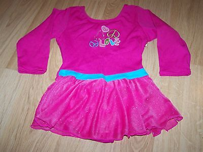 Size XS 4-5 Jacques Moret Hot Pink 3/4 Sleeve Skirted Leotard LOVE PEACE SIGNS