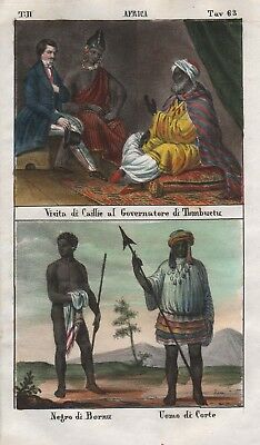 1840 - Timbuktu Bornu Africa Central people costume Lithograph Negro natives