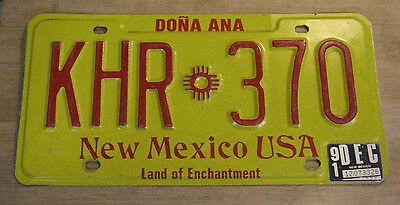 1991 New Mexico License Plate Expired Khr 370