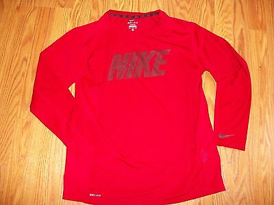 NIKE Boys Red Long-Sleeve Dri-Fit Athletic T-Shirt Top size XL