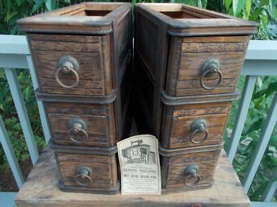 Antique Ohio Farmers Wood Sewing Drawers from Treadle Sewing Machine - 6 Drawers