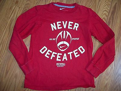NIKE Boys Red Long-Sleeve Football Athletic T-Shirt Top size Small S 8