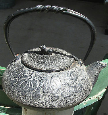 Awesome Antique Oriental Cast Iron Teapot - Signed !!!